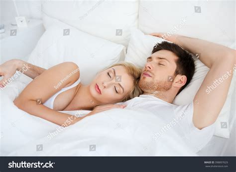 people in bed people rest relationships concept happy couple stock photo