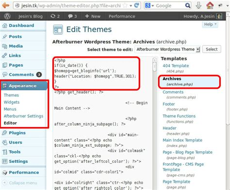 wordpress theme layout editor redirecting wordpress archives to a page jesin s blog