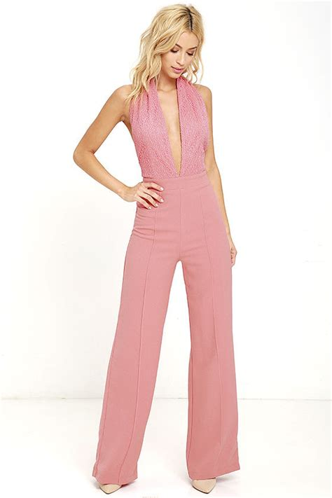 Lova Jumpsuit Pink by Blush Pink Jumpsuit Halter Jumpsuit Lace Jumpsuit