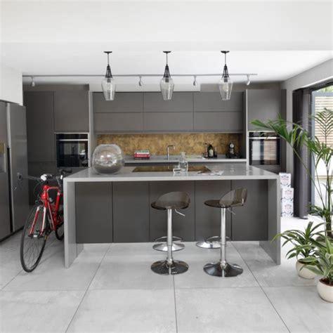 handleless kitchen cabinets sleek grey kitchen with handleless cabinets housetohome