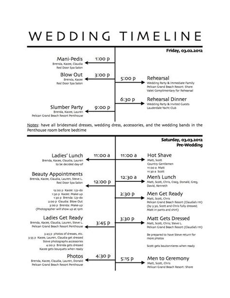 7 best images of program printable wedding day schedule
