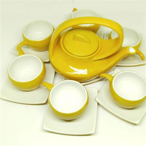 Handmade Tea Set - bat trang handmade tea set yellow white plain glaze