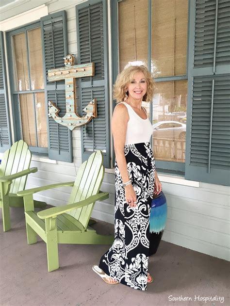 Fashion Over 50 Maxi Dress Southern Hospitality | fashion over 50 black and white maxi dress southern