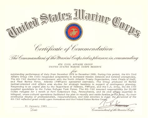 usmc certificate of commendation template file commandant of the marine corps certificate of