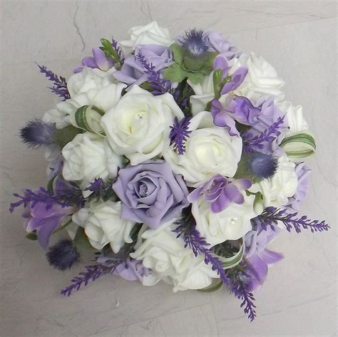 Wedding Bouquet Lilac by Artificial Wedding Bouquets Thistle Lilac Foam