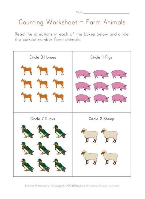 counting worksheet farm animals theme farm curriculum