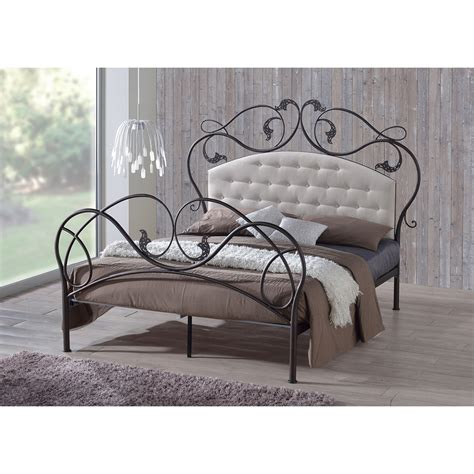 metal bed frame headboard baxton studio ariana retro modern antique bronze finish