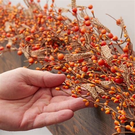 burlap and artificial berry garland pip berries
