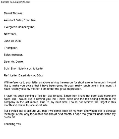 Hardship Letter Credit Card Sale Hardship Letter Sle Templates