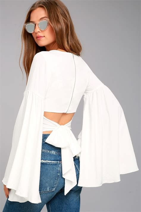 Bell Sleeve Top stunning white top bell sleeve top crop top