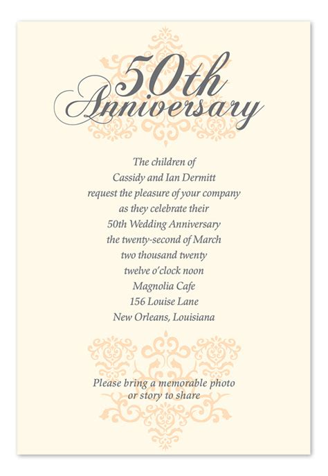 Invitation Letter For 50th Wedding Anniversary Anniversary Anniversary Invitations By