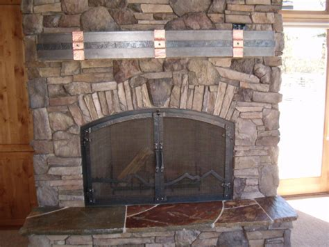 Metal Fireplace Mantel by Forged Mantel Straps Ponderosa Forge Ironworks