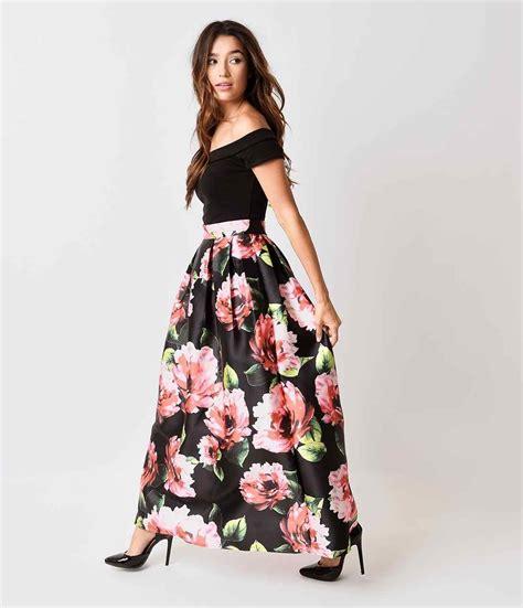 maxi skirt floral redskirtz