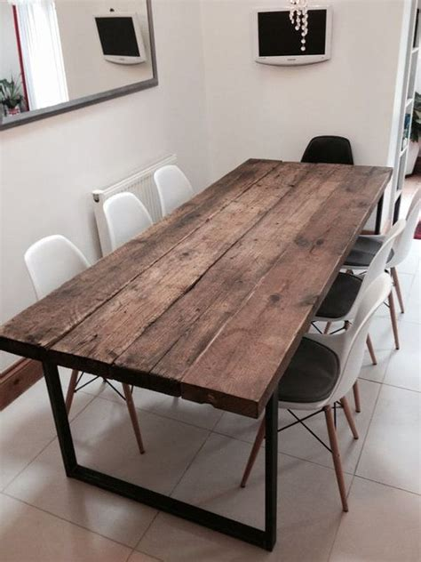 8 seater kitchen table and chairs reclaimed industrial chic 6 8 seater solid wood and metal