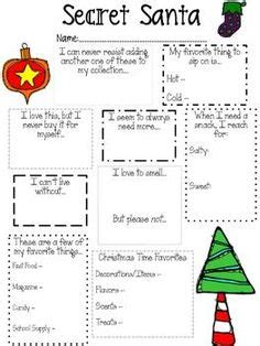 christmas gift questionnaire form 1000 images about secret pal on secret santa questionnaire secret pal and secret