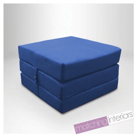 futon cube blue splashproof wipe clean fold out cube mattress guest z