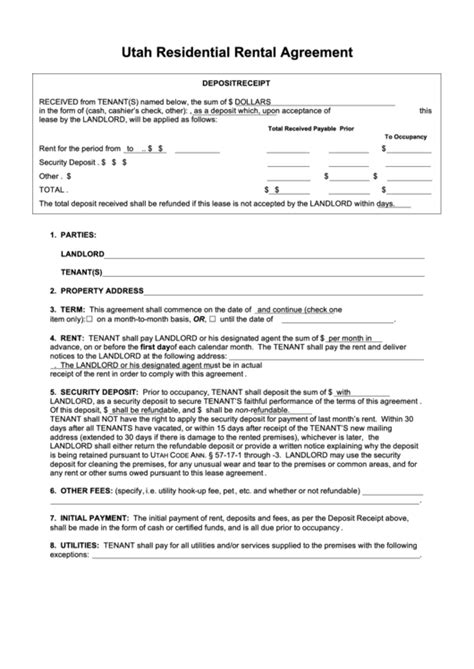 Top 33 Residential Lease Agreement Templates By State Free To Download In Pdf Format Rental Agreement Template Utah