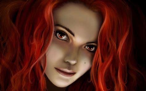wallpaper girl red fantasy girl redhead wallpapers fantasy girl redhead