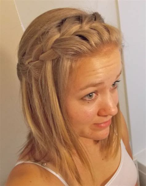 easy braid hairstyles for medium hair waterfall braid for medium length hair cute and easy to