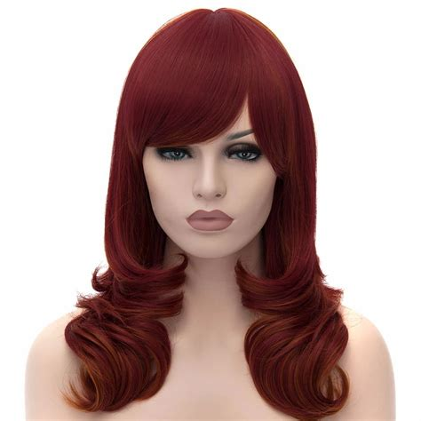 back of wigs sexy fashion women s wavy medium wine red hair full wigs