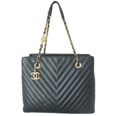 Chanel Chevron One Handle chanel black leather chevron shopper tote circa 2013