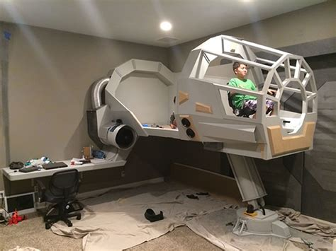 star wars child bedroom dad builds star wars themed bedroom with millennium falcon
