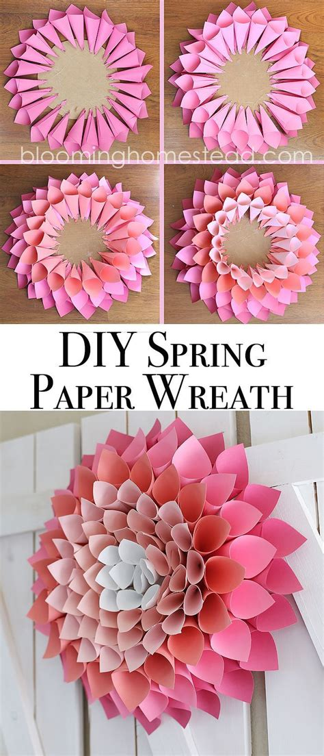 paper flower wreath tutorial diy spring wreath page 2 of 2 paper dahlia