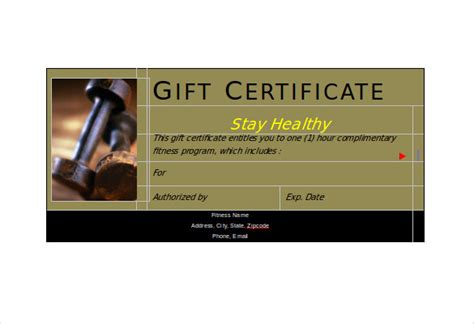 Fitness Gift Card Template by Fitness Gift Certificate Templates 7 Free Word Pdf