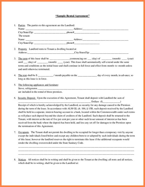 landlord tenant lease agreement template 8 rental agreement between landlord and tenant purchase