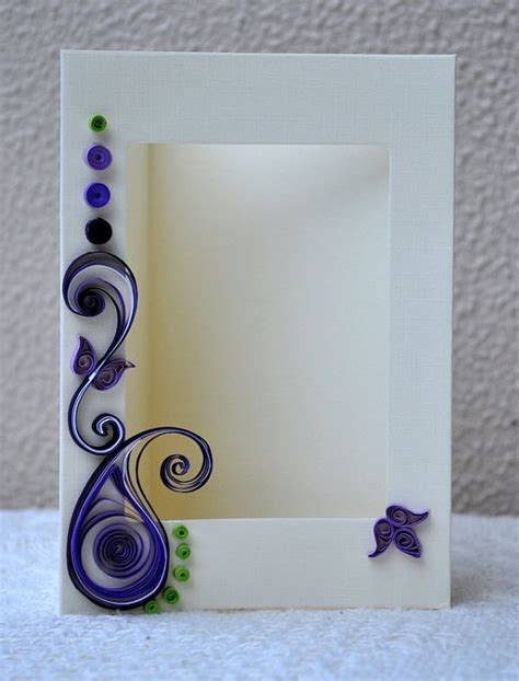 Handmade Photo Frame Design - quilled card paper quilling quilled photo frame blank card