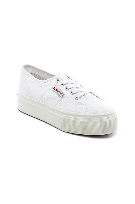 superga white sneakers superga lace up canvas sneakers in white lyst