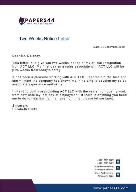 templates weeks notice letters