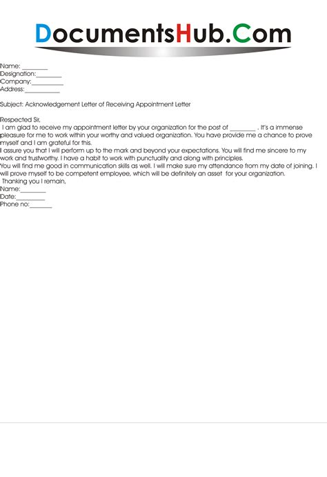 Acknowledgement Letter Joining Acknowledgement Letter For Appointment Documentshub