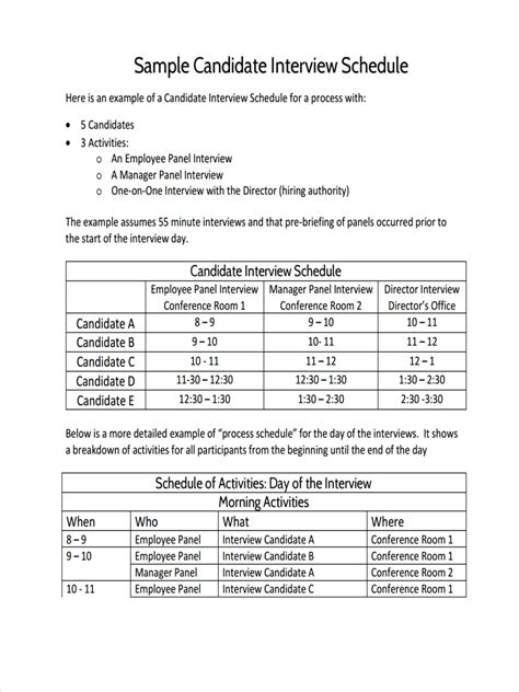 interview schedule examples samples    google docs google sheets