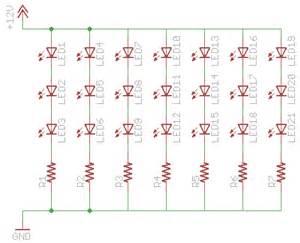 resistors 20 3 2v 3 8v leds in a line on a 12v circuit