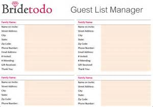Printable Wedding Guest List Template by Search Results For Wedding Guest List Printable