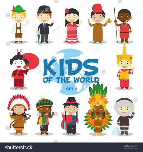 4 pics one word china doll world vector illustration nationalities set stock