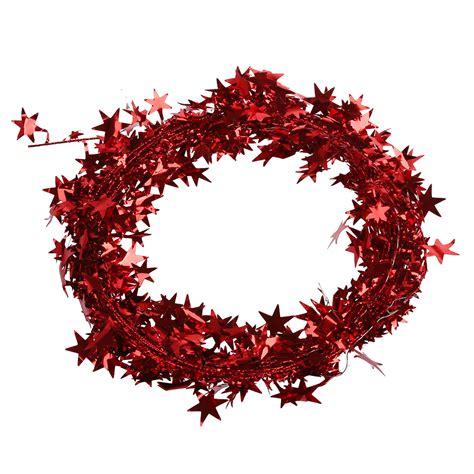 23 feet glittering red star shaped tinsel wire garland