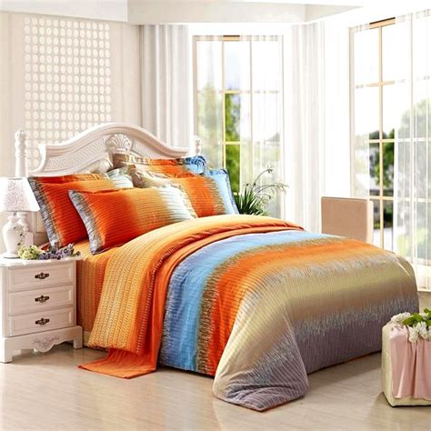 Bright Orange Bedding Set Funky Bright Orange Grey And Aqua Blue Ticking Stripe Print Size 100 Brushed Cotton