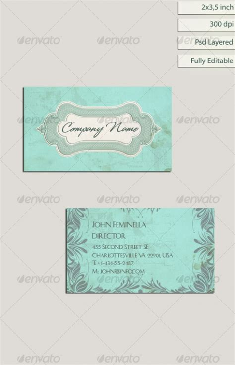 beautiful vintage style business card designs 20 best