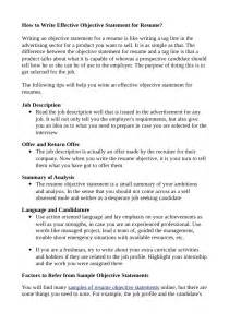 How To Write Objectives For A Resume by How To Write Effective Objective Statement For Resume