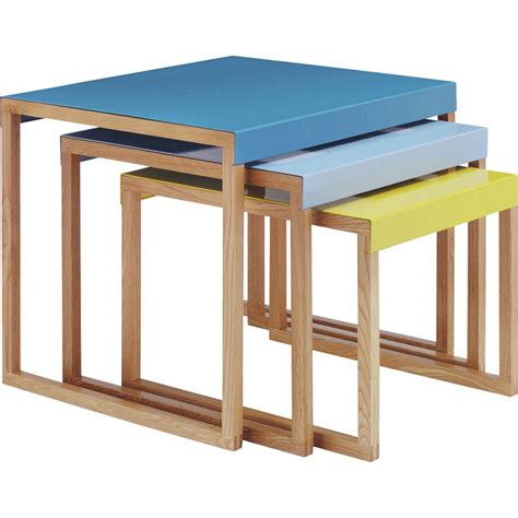 table kilo habitat habitat kilo blue and yellow nest of 3 tables tables