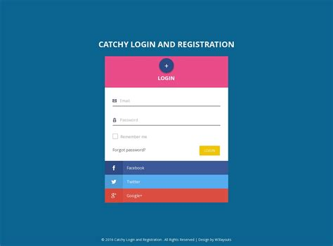catchy login and registration flat responsive widget