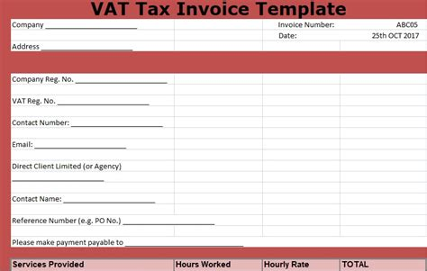 vat spreadsheet template vat tax invoice template free xlstemplates