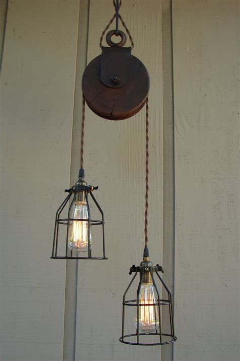 Pulley Light Fixture by Reserved For Diane Upcycled Farm Pulley Lighting Pendant With