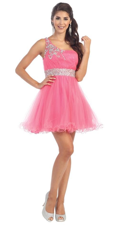 Dress Ghifa Pink 1 pink one shoulder tulle dress homecoming dresses