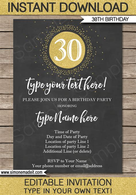 chalkboard 30th birthday invitations template gold glitter - 30th Bday Invitations 2
