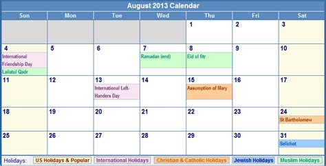 Calendar August 2013 August 2013 Calendar With Holidays As Picture