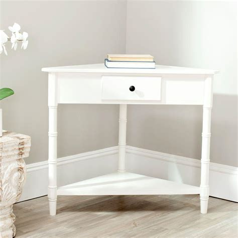 white corner accent table safavieh gomez distressed cream storage console table