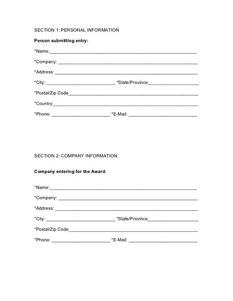 person report template entry form in ms word format